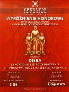 Operator Logistyczny Roku - Wyróżnienie dla firmy Diera - 2008 rok