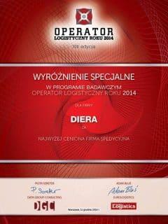 Operator Logistyczny Roku - Wyróżnienie dla firmy Diera - 2014 rok