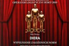 Operator Logistyczny Roku - Wyróżnienie dla firmy Diera - 2010 rok