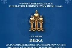 Operator Logistyczny Roku - Wyróżnienie dla firmy Diera - 2012 rok
