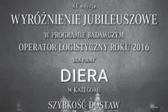 Operator Logistyczny Roku - Wyróżnienie dla firmy Diera - 2016 rok